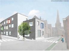 Zicht op de hoek Zandstraat - Kouterstraat